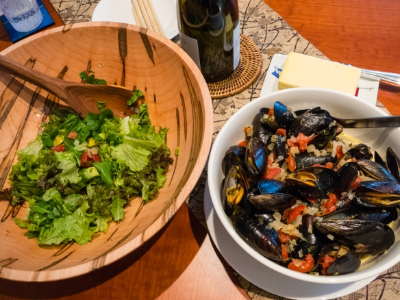 Using ingredients purchased in Patagonia, our lunch in our apartment on the ship was fresh local Chiloé Island mussels in a tomato Meunière sauce with a fresh salad, anchored at Puerto Chacabuco, Chile