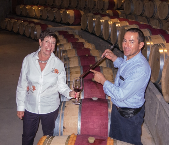 We each got a taste of young wine, aging in the barrels at the Viña Montes winery_
