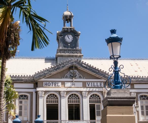 A closeup of the facade of Hotel de Ville (City Hall), Fort-de-France, Martinique, Caribbean Sea