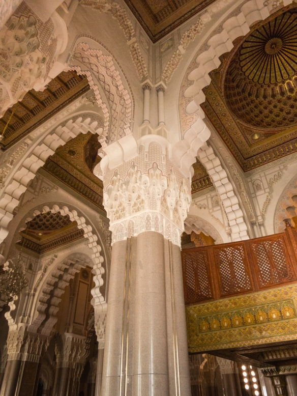 A geometric criss-cross of elaborately carved arches in the Prayer Hall inside La Mosquée Hassan II (Hassan II Mosque), Casablanca, Morocco