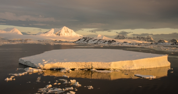 A large iceberg highlighted by the setting sun in the Neumayer Channel at 11 pm, Antarctica