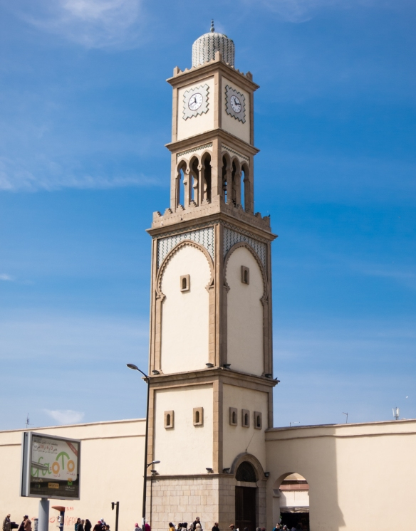 A minaret in the center of the city, adjacent to the old quarter, Casablanca, Morocco