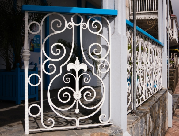 A more contemporary French=style wrought-iron fence in Marigot, Saint-Martin, Caribbean Sea