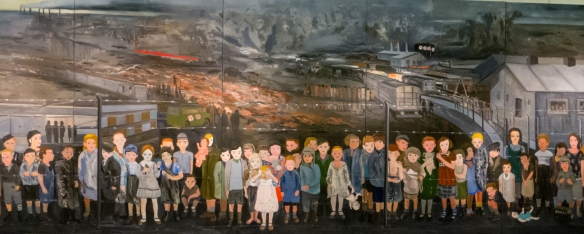 A mural in memory of Jewish children who perished in the Holocaust, temporary art exhibition, AMIA building, 933 Pasteur, Buenos Aires, Argentina