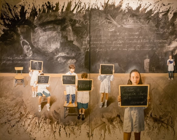 A mural with children reminding us to seek truth and justice as we remember the murdered, temporary art exhibition, AMIA building, 933 Pasteur, Buenos Aires, Argentina