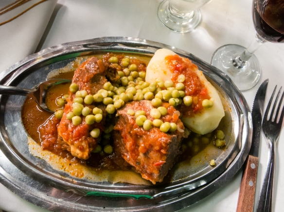 A shared luncheon entree of local beef stew, El Obrero, in La Boca, Buenos Aires, Argentina