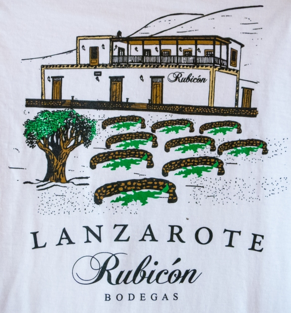 A tee-shirt design for Rubicon Bodegas (winery) shows the dry walls protecting the individual grape vines, Lanzarote, Canary Islands