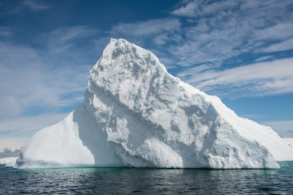 A triangle-shaped Iceberg in Dallmann Fjords off Northern Anvers Island, Antarctica