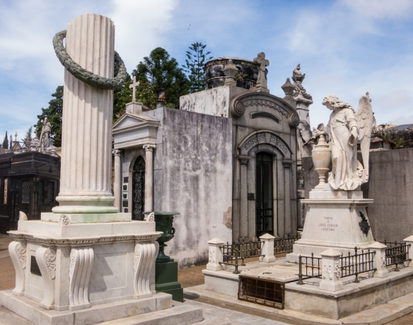 A variety of architectural styles for columns to mausoleums, Recoleta cemetery, Buenos AIres, Argentina