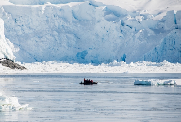 A Zodiacs exploring the channel near the U.S. Antarctic Program's Palmer Station in Arthur Harbour on Avers Island, Antarctica
