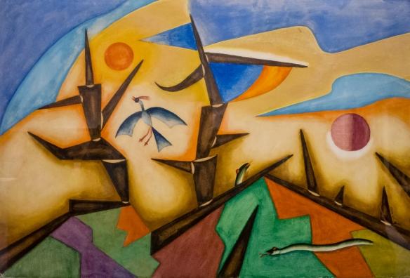 "Alejandro Xul Solar (Argentina, 1887 - 1963), ""Troncos"" (Tree Trunks), MALBA modern art museum, Buenos Aires, Argentina"