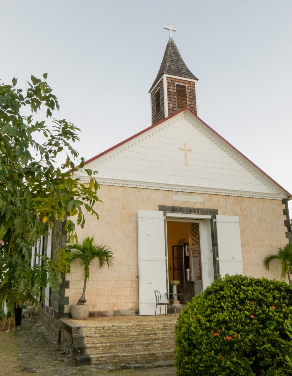 An old Christian church on the historic downtown main street in Gustavia, Saint Barthélemy (St. Barth's), Caribbean Sea
