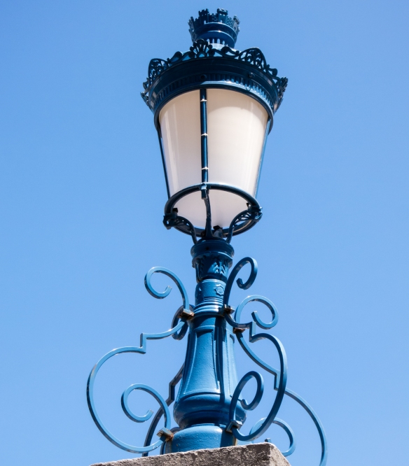 Architectural detail of street lamp at Hotel de Ville (City Hall), Fort-de-France, Martinique, Caribbean Sea