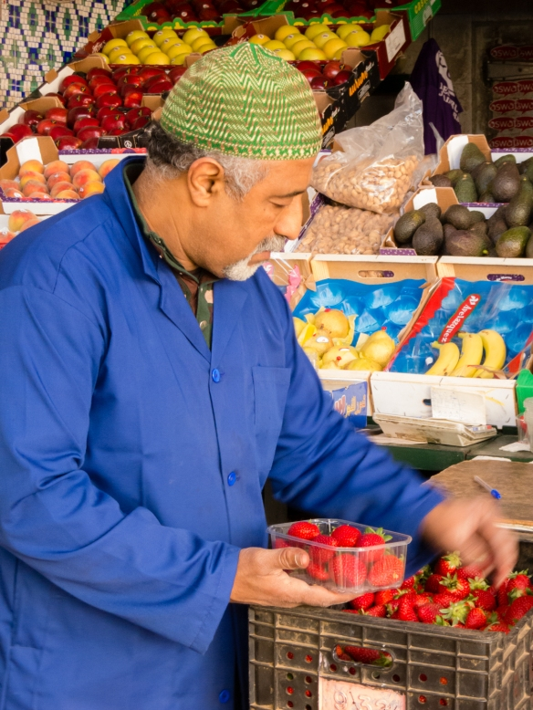 Beautiful local fresh strawberries for sale in Marché Central (Central Market), Casablanca, Morocco