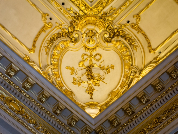 Ceiling detail and moulding in Salón Dorado (The Golden Room) of Teatro Colón (Columbus Theatre, the main opera house), Buenos Aires, Argentina
