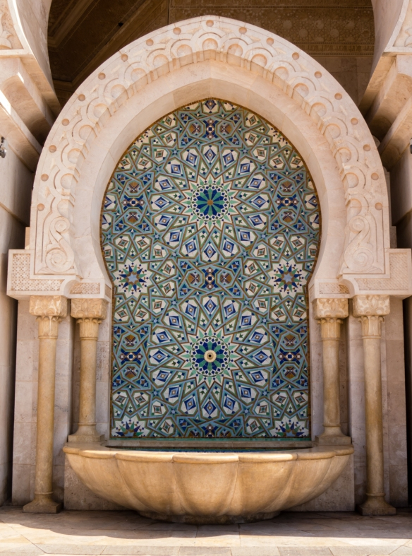 Closeup of exterior fountain at La Mosquée Hassan II (Hassan II Mosque), Casablanca, Morocco