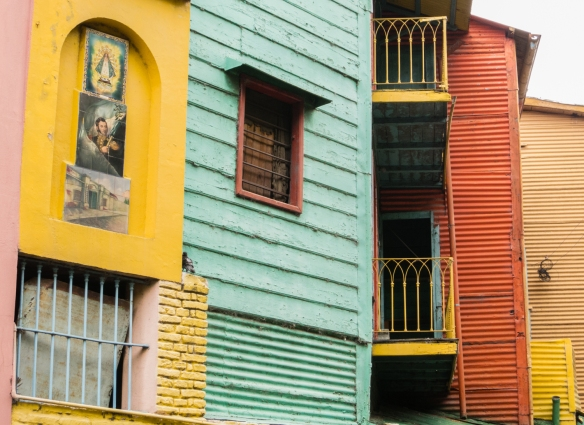 Colorful art and houses on the pedestrian street, the Caminito in La Boca, Buenos Aires, Argentina