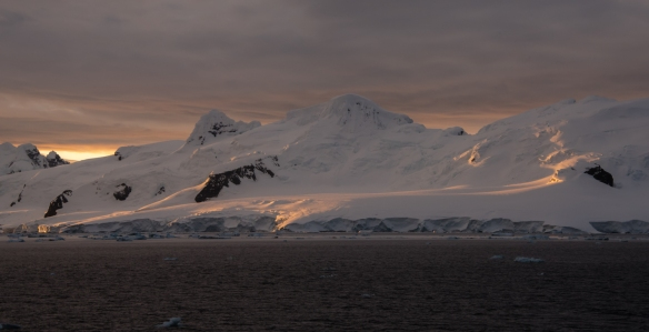 Cruising towards the Lemaire Channel from Neko Harbor at 11 pm, Antarctica