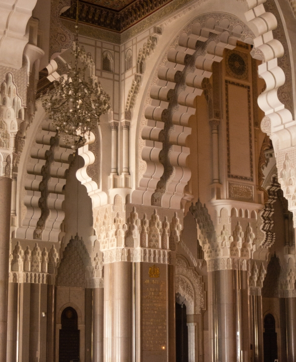 Details of elaborately carved arches in the Prayer Hall inside La Mosquée Hassan II (Hassan II Mosque), Casablanca, Morocco