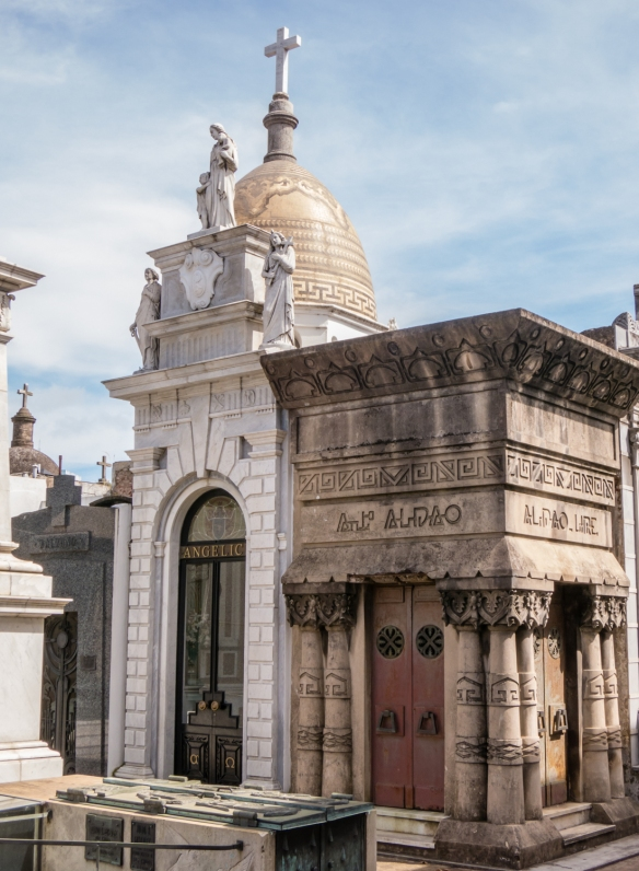 Diverse architecture for mausoleums of families from many different countries, Recoleta cemetery, Buenos AIres, Argentina