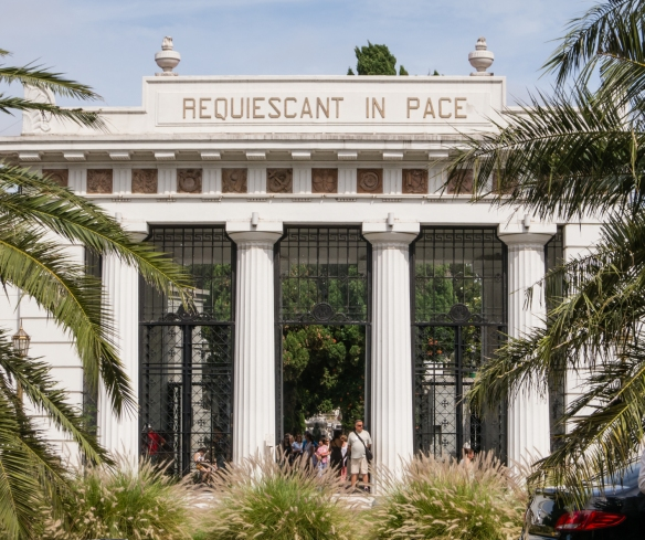 Entrance to the famous Recoleta cemetery, renowned for its rich funeral architecture and sculptures that make it an open air museum, Buenos AIres, Argentina