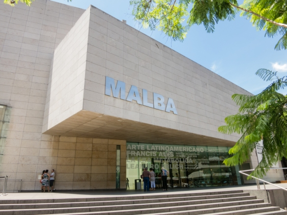 Exterior entrance to the MALBA modern art museum, Buenos Aires, Argentina