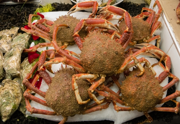 Fresh crabs and oysters at a fish monger's stall in Marché Central (Central Market), Casablanca, Morocco