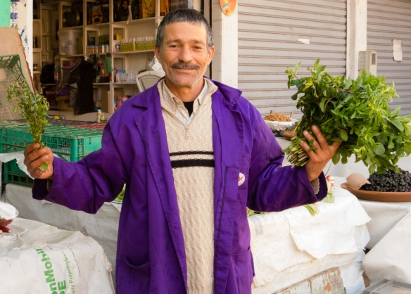 Fresh local mint and herbs for sale by green grocer in Marché Central (Central Market), Casablanca, Morocco