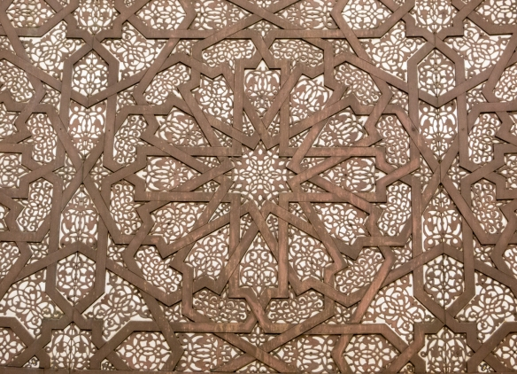 Geometric decoraion on the wall on the passaeway to the ablution (a ceremonial act of washing parts of the body) chamber on the lower level of La Mosquée Hassan II (Hassan II Mosque), Casablanca, Morocco