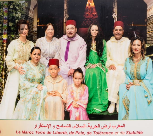 Giant billboard photograph of the Moroccan Royal Family (the king is in the center, back row), Casablanca, Morocco