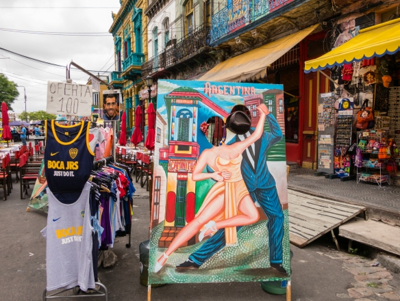 La Boca is a colorful barrio (neighborhood) with houses, shops and tango dancers and artifcats, Buenos Aires, Argentina