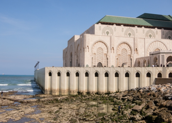 La Mosquée Hassan II (Hassan II Mosque) was built on the coast, directly over the Atlantic Ocean (which can be viewed below, from the lowrer level), Casablanca, Morocco