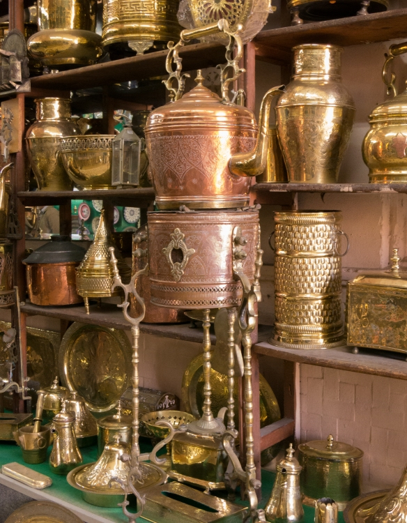 Moroccan copper and brass houselhold and kitchenware, Casablanca, Morocco