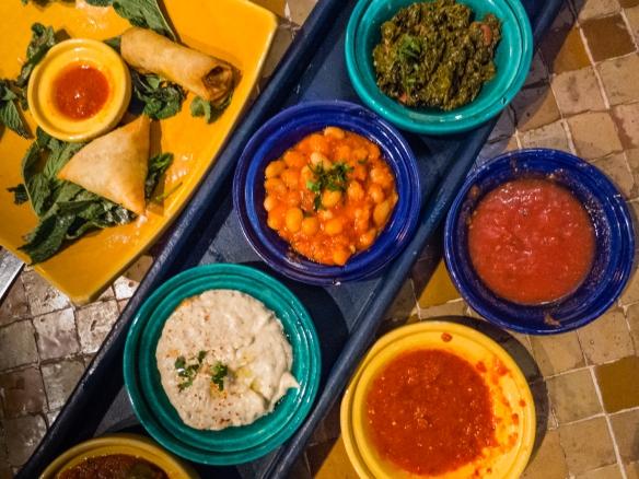 Moroccan hors d'oeuvres platters at La Sqaia, Casablanca, Morocco
