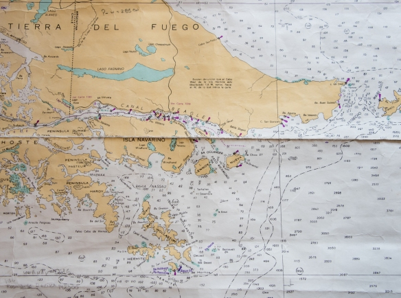 Navigation map with Cabo de Hornos (Cape Horn) on the bottom center (with several purple stamps around it), Chile