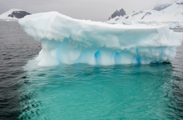Notice how much of this iceberg that is underwater is visible, in the Gerlache Strait, close to Cuverville Island, Antarctica