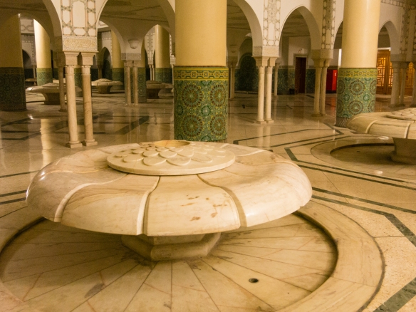 One of many carved marble fountains in the men's ablution chamber on the lower level of La Mosquée Hassan II (Hassan II Mosque), Casablanca, Morocco
