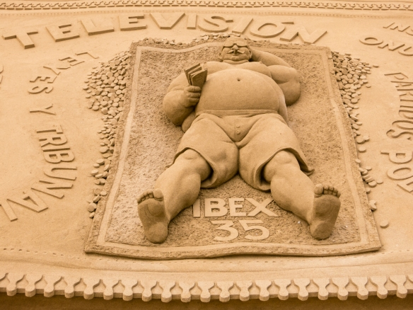 "One of many talented sand carvers' 3-D ""pictures"" on Playa de Las Canteras, Las Palmas, Gran Canaria, Canary Islands"