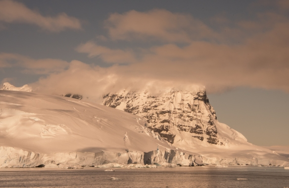 Our last view of glaciers and mountains on the Antarctic coast, in evening light, as we sailed towards Drake Passage and Argentina from Port Lockroy, Antarctica