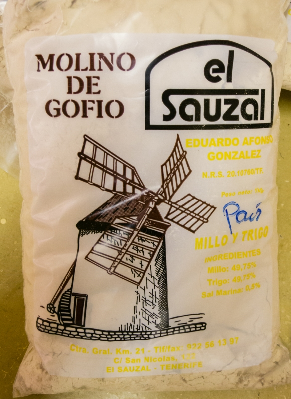 Packaged, finished flour (gofio) at Molino de Gofio (the Gofio Mill)  in the town of El Sauzal, Tenerife, Canary Islands
