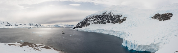 Panorama of Neko Harbor from the glacier, Antarctica