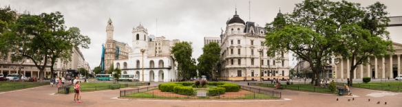 Panorama of the historic and political heart of Buenos Aires, around Plaza de Mayo (May Square), Argentina