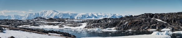 Panoramic view from Palmer Station in Arthur Harbour on Anvers Island, Antarctica