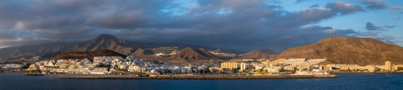 Papnorama just before sunset of Los Cristianos, Tenerife, Canary Islands