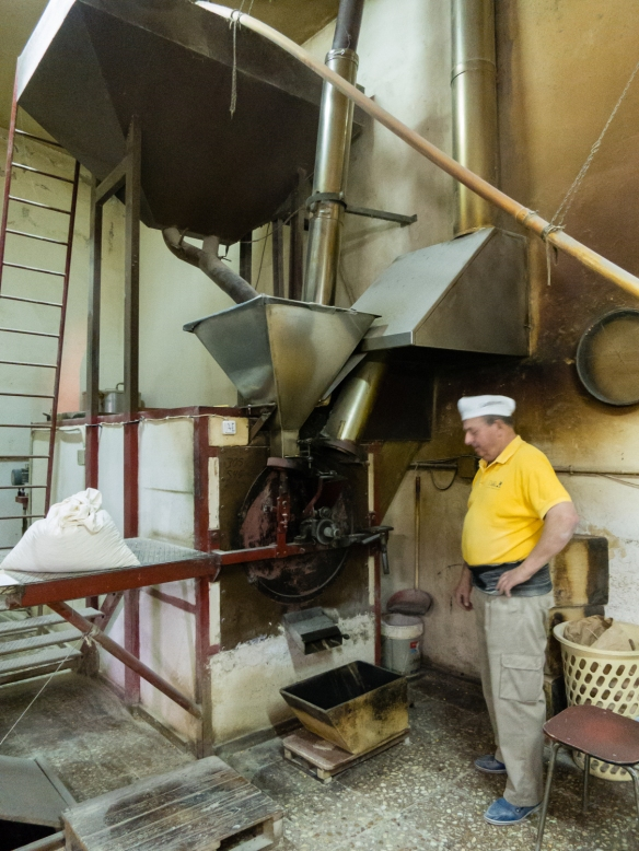 Roasting the grains at Molino de Gofio (the Gofio Mill) in the town of El Sauzal, Tenerife, Canary Islands