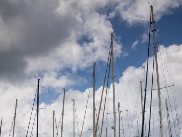Sailboat masts in the harbor at Marigot, Saint-Martin, Caribbean Sea