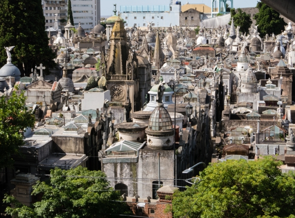 Skyscraper view of the funeral architecture and sculptures of Recoleta cemetery, Buenos AIres, Argentina