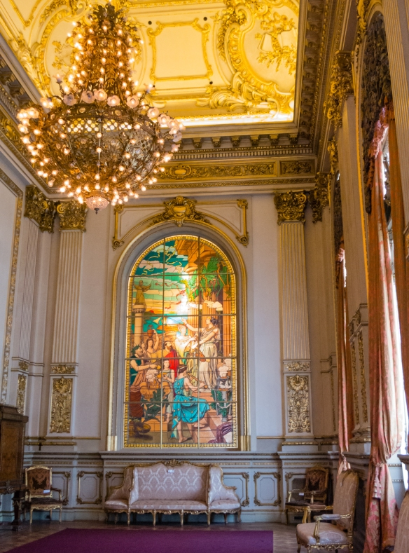 Stained glass wall painting at the end of  Salón Dorado (The Golden Room) of Teatro Colón (Columbus Theatre, the main opera house), Buenos Aires, Argentina
