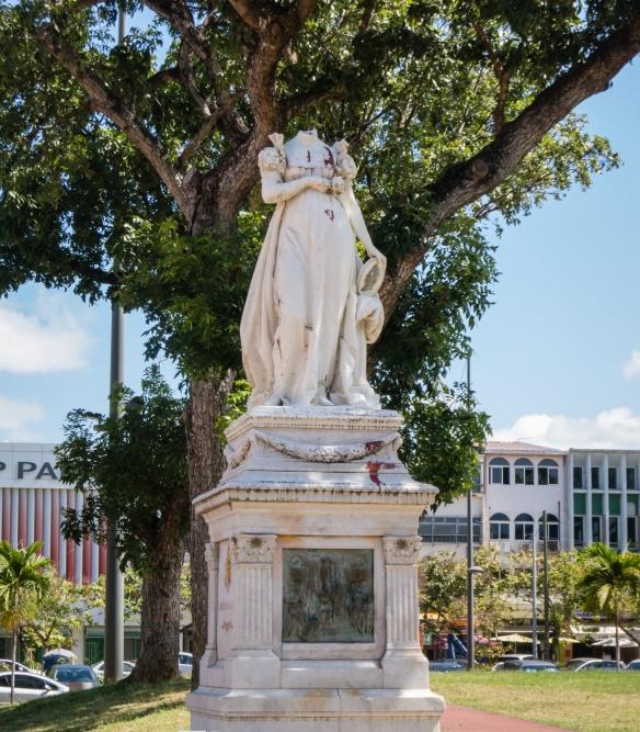 Statue of Empress Josephine (Napoleon's wife) by Vital Debray in Place de la Savane (Savane Park), whose head was chopped of in a political protest late in the 20th C, Fort-de-France, Martinique, Caribbean Sea_