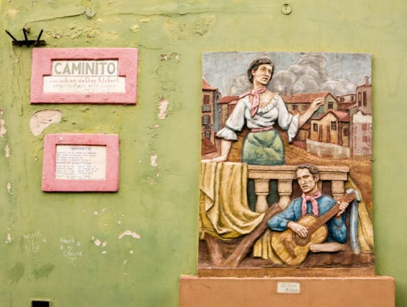 Street wall art on the Caminito in La Boca, Buenos Aires, Argentina